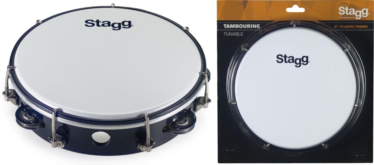 """Tambourin accordable en plastique 8"""" avec 1 rangée de cymbalettes"""