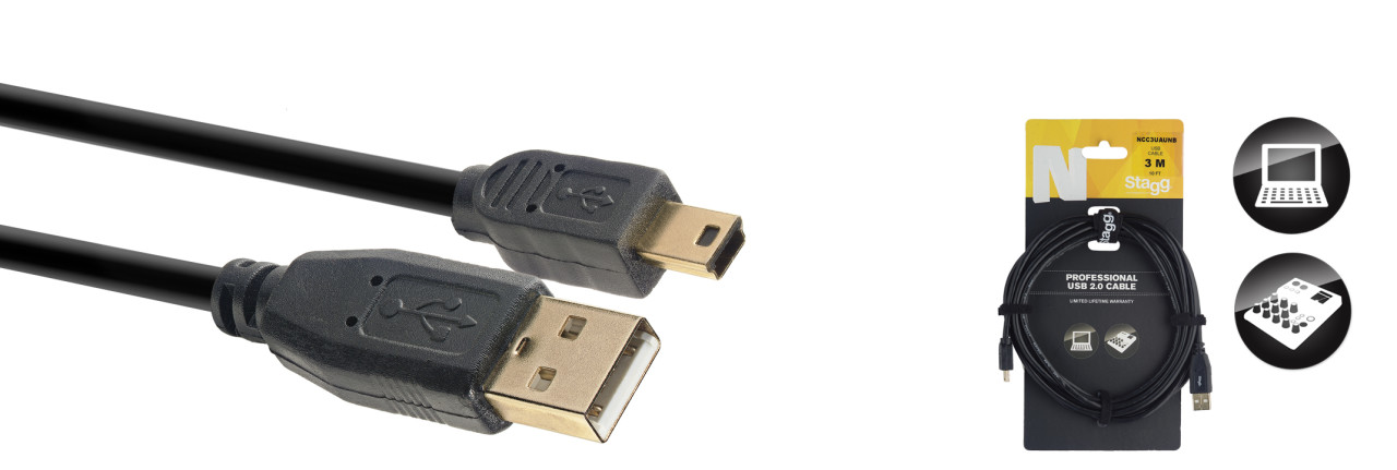 USB 2.0 cable, USB A/mini USB B (m/m), 3 m (10')