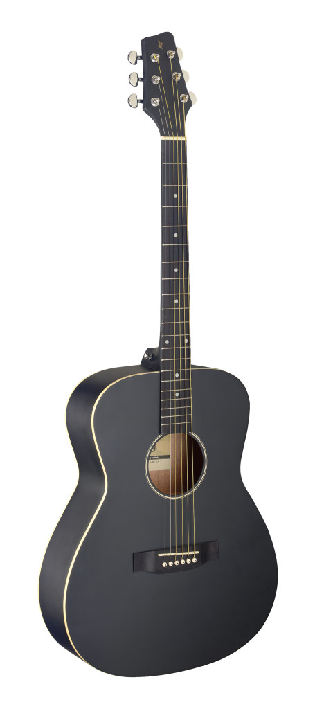 Auditorium guitar with basswood top, black, left-handed model