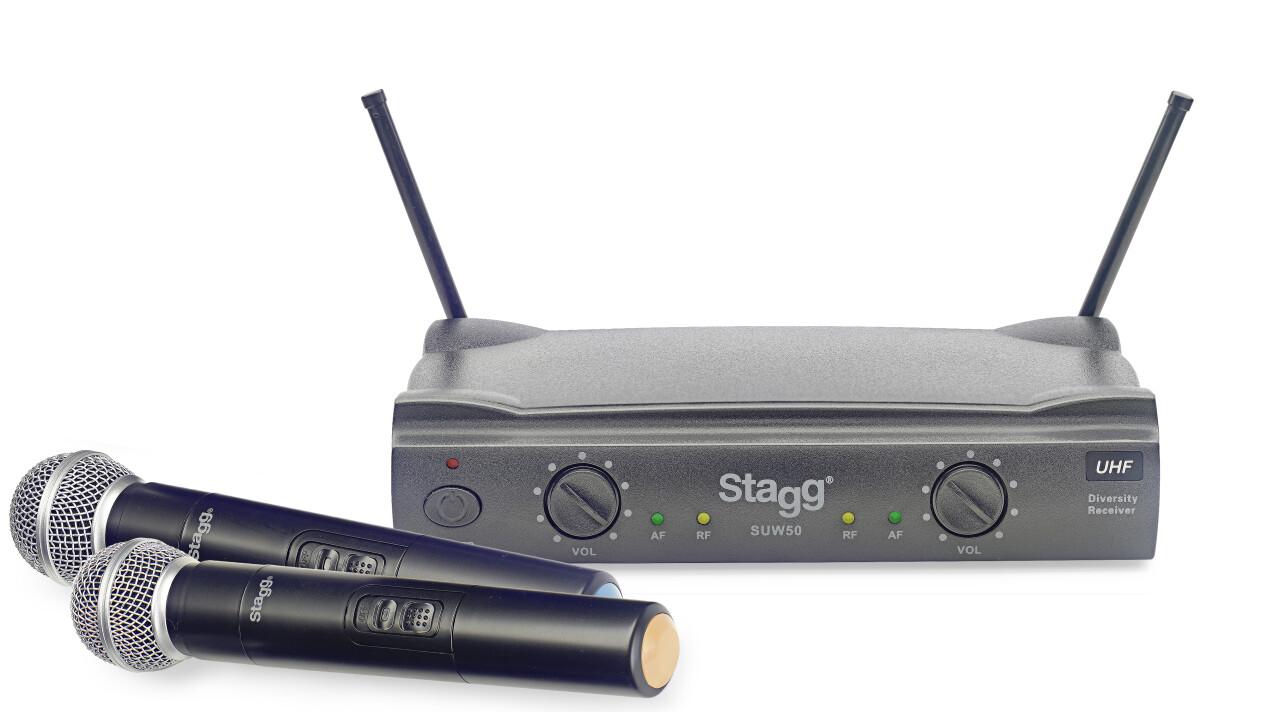 Système de microphones à main sans fil UHF true diversity 2 canaux