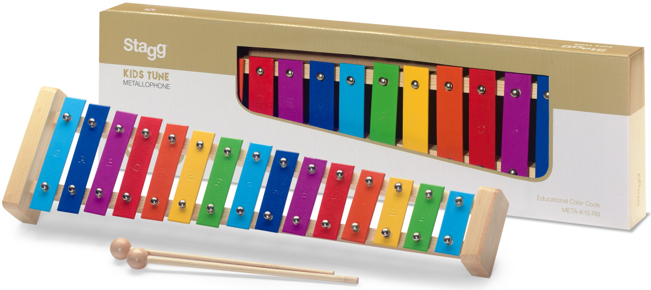 Metallophone with 15 colour-coded keys and two wooden mallets