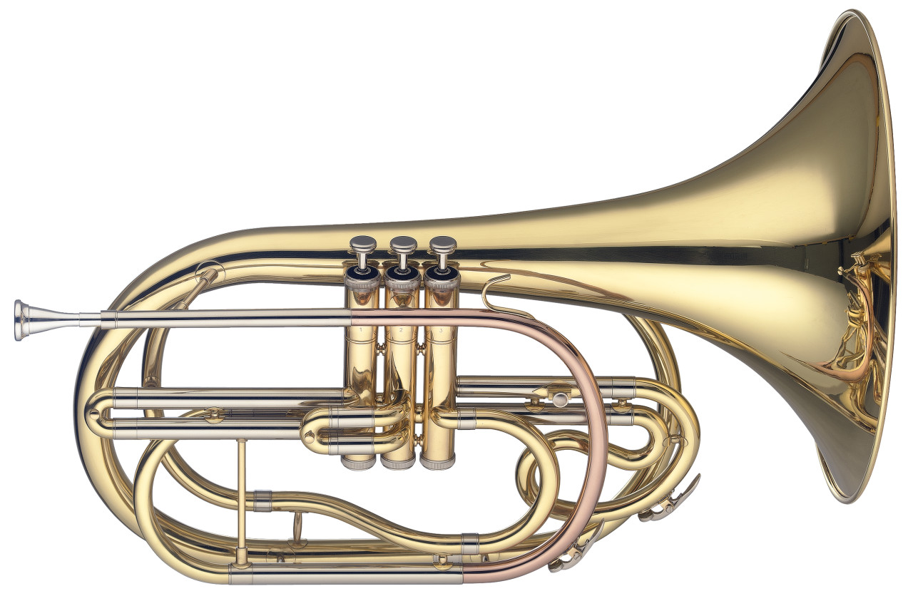 Bb Marching French Horn, 3 pistons in stainless steel