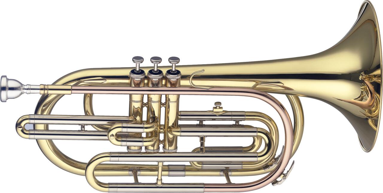 Trombone de marche en Sib, 3 pistons en acier inoxydable
