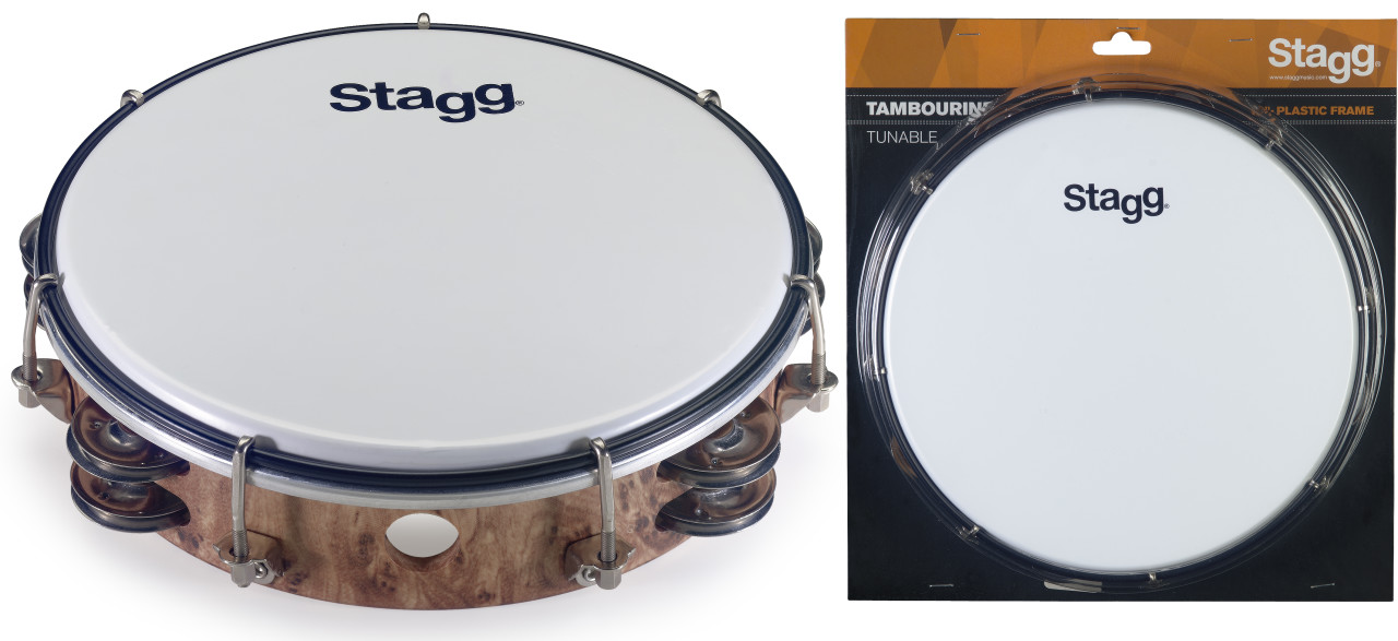 "8"" Tuneable plastic tambourine with 2 rows of jingles"