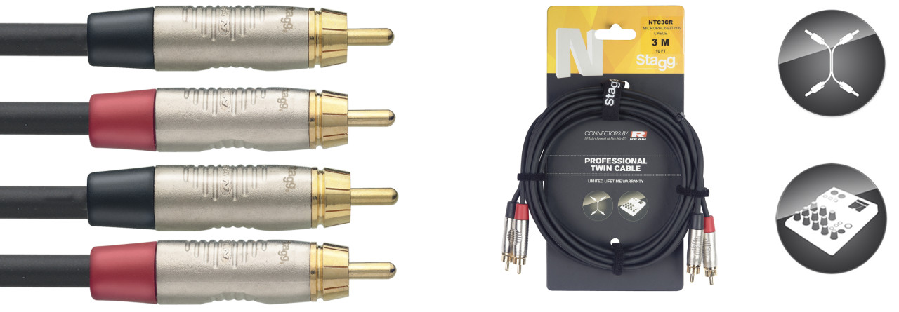 Twin cable, RCA/RCA (m/m), 3 m (10')