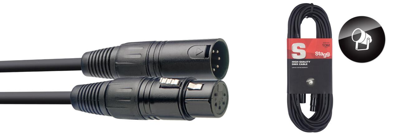 DMX cable, XLR/XLR (m/f) (5 pins), 10 m (33')