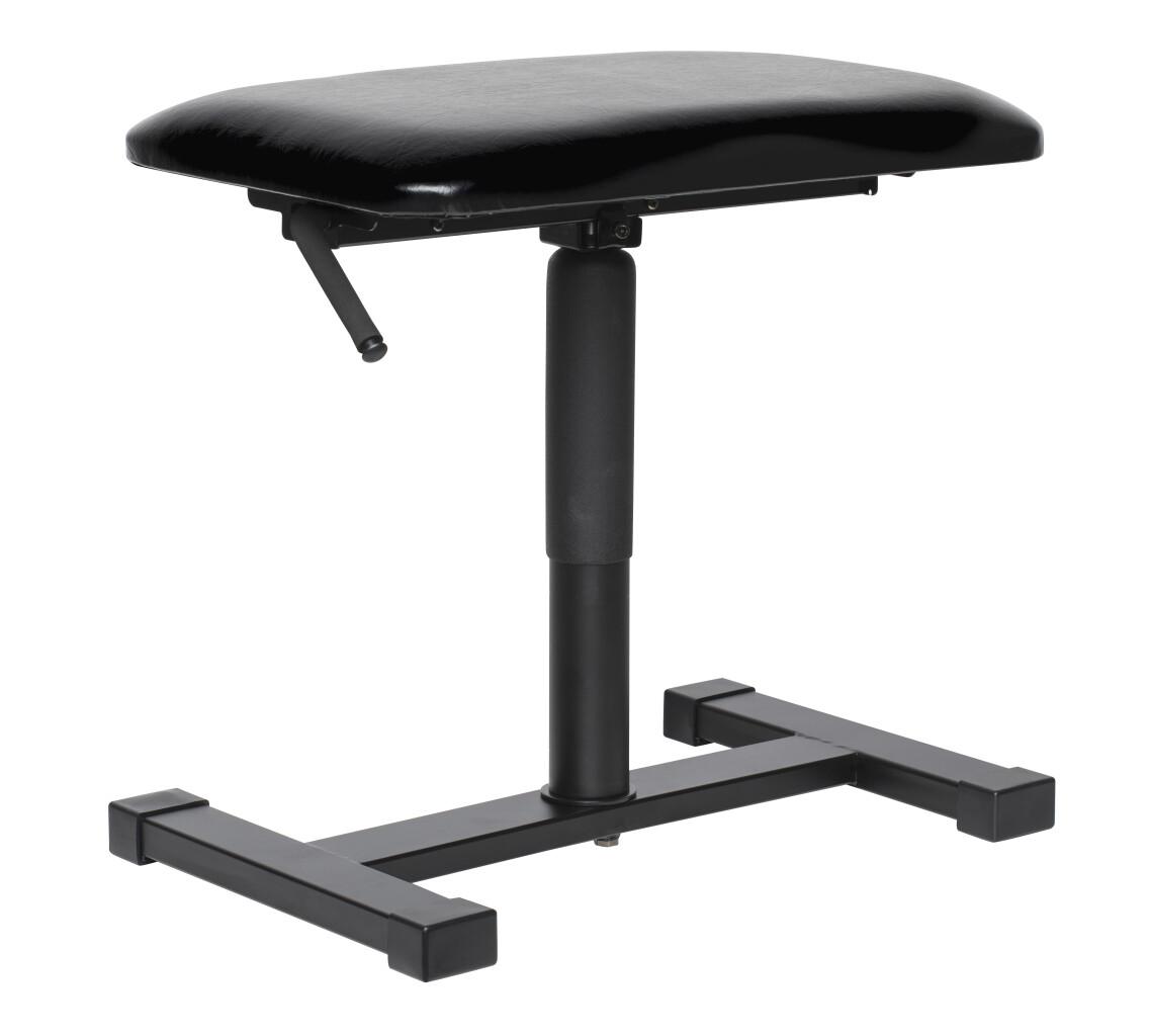 Satin Schwarz, hydraulische Keyboardbank, Sitzfläche Kunstleder Schwarz Satin, Standfuss mittig