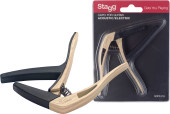 Curved trigger capo for acoustic or electric guitar