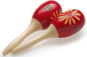"Pair of oval wooden maracas, flower finish, red, 16 cm (6.3"")"