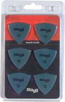 Pack of 6 Stagg 0.88 mm triangular plastic picks