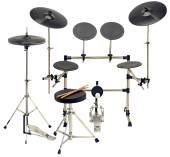 8-pc rubber practice pad set with stainless steel stands & tomrack