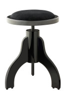 Matt black piano stool with black velvet covering
