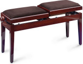 Twin piano bench, mahogany colour, highgloss, with fireproof brown velvet top
