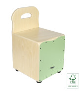 Basswood kid's cajón with EasyGo backrest, green front board