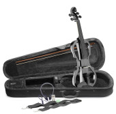 4/4 electric violin set with metallic black electric violin, soft case and headphones