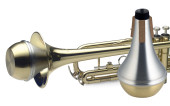 Straight practice mute for trumpet, with brass bottom