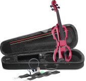 4/4 electric violin set with metallic red electric violin, soft case and headphones