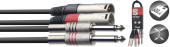 Twin cable, XLR/jack (m/m), 3 m (10')