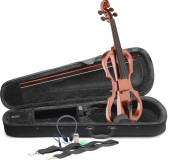 4/4 electric violin set with violinburst colour, soft case and headphones