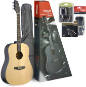 Dreadnought acoustic guitar package + accessories & Starter Guitar Lessons