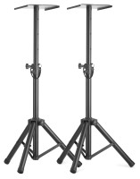 Two height adjustable monitor or light stands with folding legs