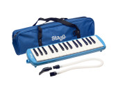 Blue plastic melodica with 32 keys and blue bag