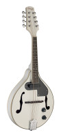 White acoustic-electric bluegrass mandolin with nato top