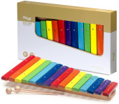 Xylophone with 15 colour-coded keys and two wooden mallets