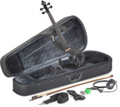 4/4 electric violin set with S-shaped metallic black electric violin, soft case and headphones