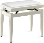 Matt white piano bench with white vinyl top