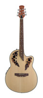 Shallow Bowl Electro-Acoustic Guitar with cutaway & leaf-decorated soundholes