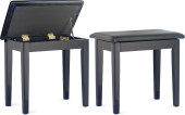 Highgloss black piano bench with black vinyl top and storage compartment