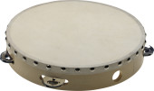 "10"" pre-tuned wooden tambourine with rivetted head and 1 row of jingles"