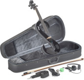 4/4 electric viola set with S-shaped black electric viola, soft case and headphones