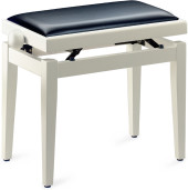 Matt white piano bench with black vinyl top