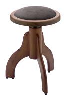 Matt piano stool, walnut colour, with brown velvet covering
