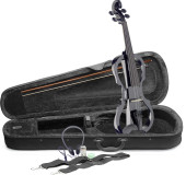 4/4 electric violin set with black electric violin, soft case and headphones
