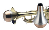 Straight practice mute for trumpet, with copper bottom