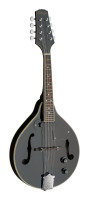 Black acoustic-electric bluegrass mandolin with nato top