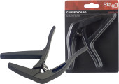 "Curved ""trigger"" capo for acoustic/electric guitar"