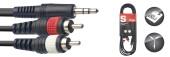 Y cable, mini jack/RCA (m/m), 3 m (10')