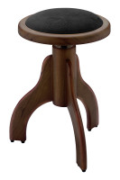 Matt piano stool, rosewood colour, with black velvet covering