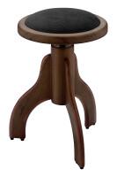 Matt piano stool, rosewood colour, with black velvet covering