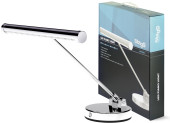 Chrome battery-powered or mains-operated LED piano or desk lamp