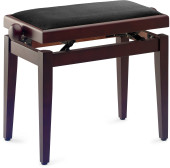 Matt piano bench, rosewood colour, with black velvet top
