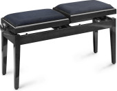 Twin piano bench, black, highgloss, with fireproof black velvet top