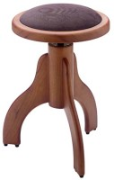 Matt piano stool, wild cherry colour, with brown velvet covering
