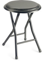 General purpose, foldable round stool with black vinyl top