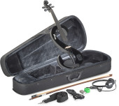 4/4 electric violin set with S-shaped black electric violin, soft case and headphones