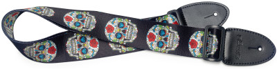 Terylene guitar strap with Mexican skull 2 pattern